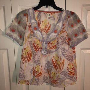 Edme & Esyllte Anthropologie button floral blouse